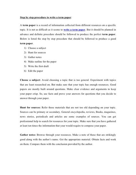 Procedure Of Paper - step by step procedure to write a term paper