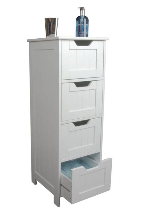 Slim White Wood Storage Cabinet Four Drawers Bathroom Bathroom Storage Uk