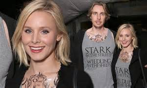 dax shepard tattoos kristen bell attends of thrones premiere with husband