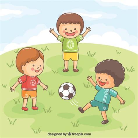 dibujos niños jugando futbol ni 241 os alegres jugando al f 250 tbol descargar vectores gratis
