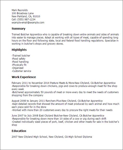 Butcher Apprentice Cover Letter 1 butcher apprentice resume templates try them now myperfectresume