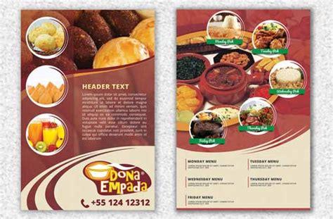 desain brosur sekolah sederhana 15 contoh desain brosur makanan ringan keren unik