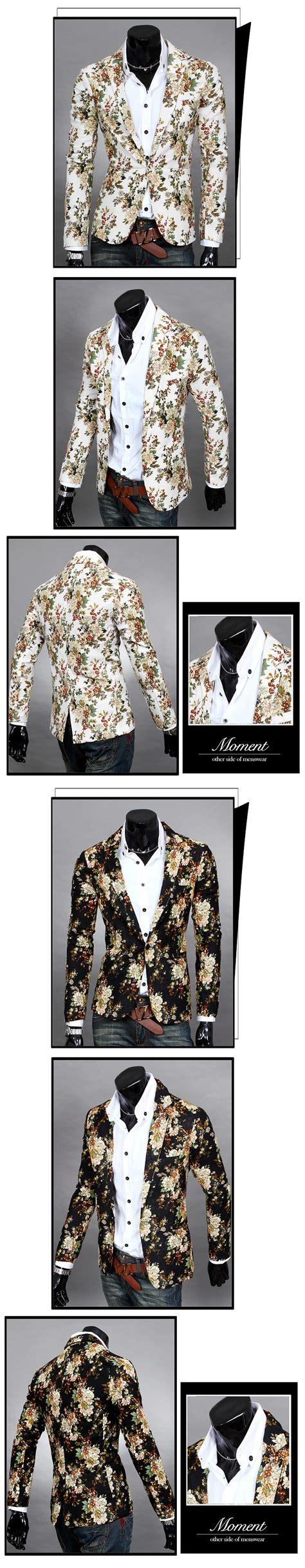 Blazer Pria Korean Style Navy Blue buy penjualan jepang korea fashion style pola floral