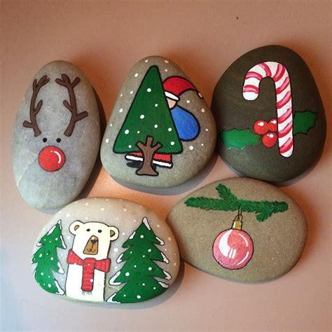 cute christmas rock painting ideas  kids