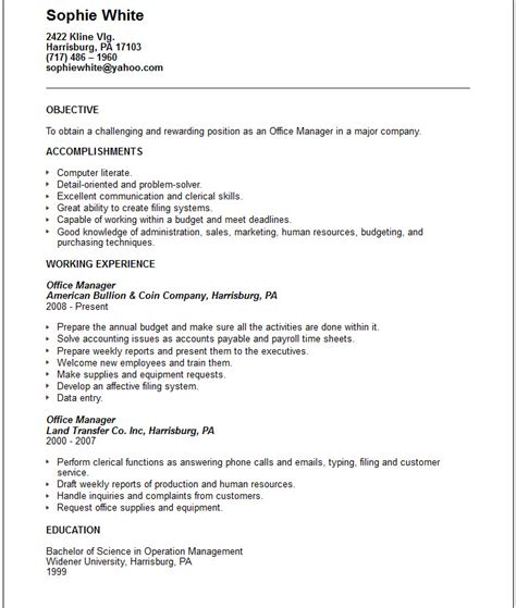 office resume objective office manager resume exle free templates collection