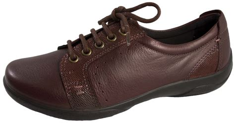 padders womens leather comfort shoes wide fitting lace up