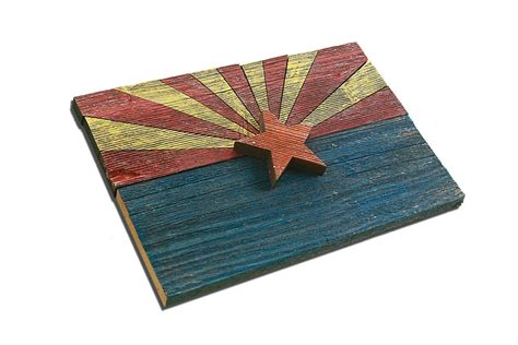 Handmade Flags - handmade reclaimed wooden arizona flag vintage