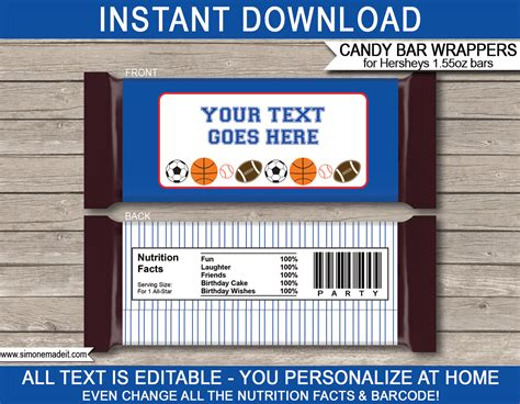 All Star Sports Hershey Candy Bar Wrappers Personalized Candy Bars Wrapper Labels Templates