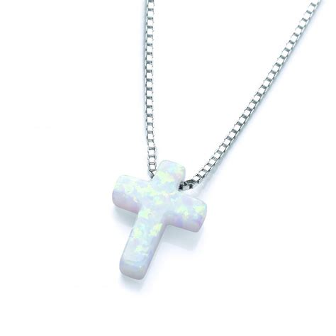 white opal necklace sterling silver white opal cross necklace by david deyong