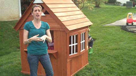 backyard discovery my cedar playhouse classy mommy cedar cottage review youtube
