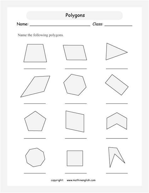 shapes worksheet with names names of polygons name regular and irregular polygons
