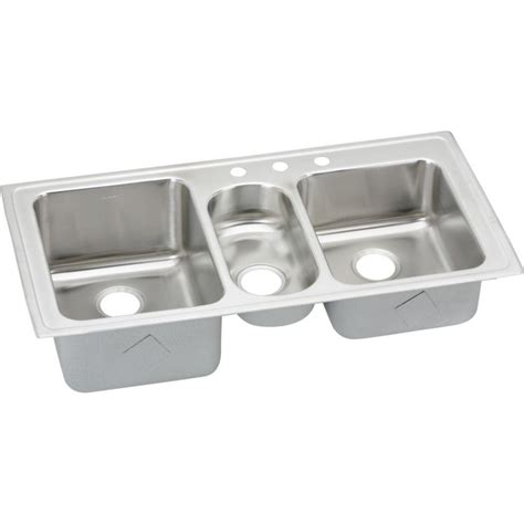 3 bowl stainless steel kitchen sinks elkay lustertone drop in stainless steel 43 in 3 hole