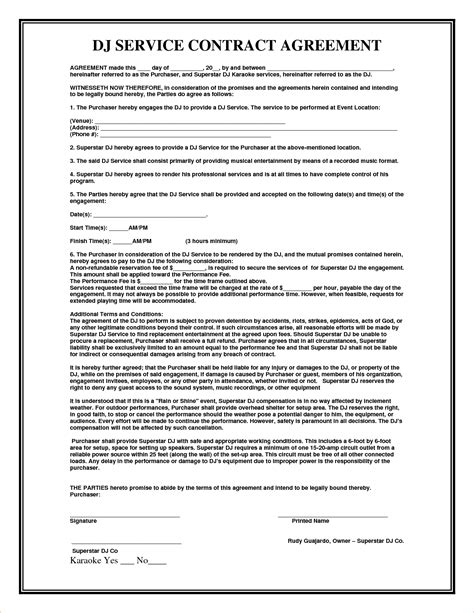 contract agreement templates 4 service agreement contract templatereport template