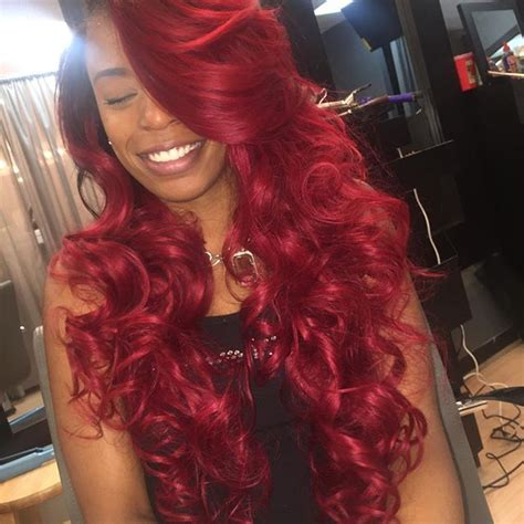 colorful sew ins middle part custom color w full sew in curly hair pinterest