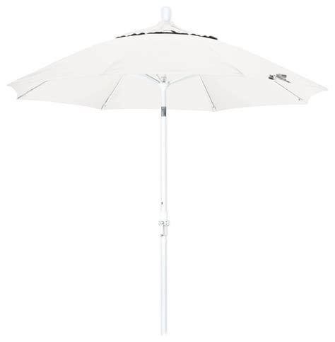 Patio Umbrella White Pole 9 Foot Olefin Fabric Crank Lift Tilting Aluminum Patio Umbrella With White Pole Contemporary