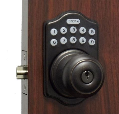 Keyless Electronic Digital Door Lock by Lockey E Digital Keyless Electronic Knob Door Lock Bronze With Remote