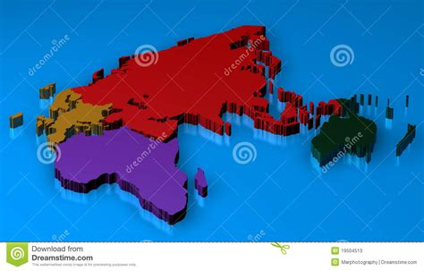travels in three continents europe africa asia classic reprint books 3d map rendered of europa africa asia russia stock