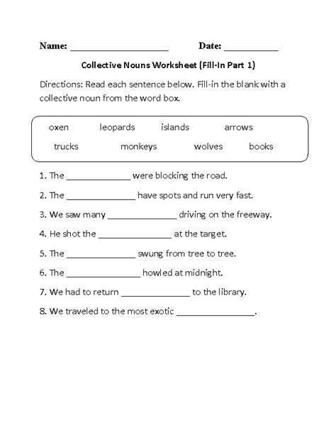 Collective Nouns Worksheets For Grade 6 by 25 Best Ideas About Collective Nouns Worksheet On