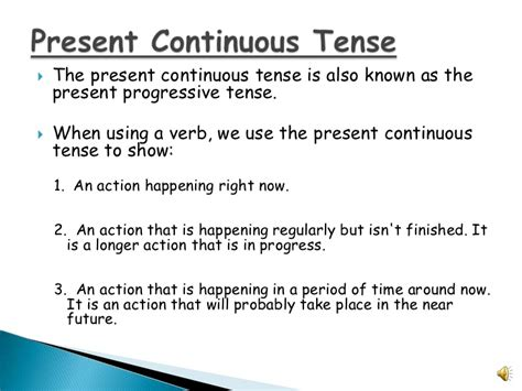 write the pattern of present continuous tense present continuous verbs