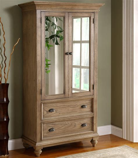 2 door mirror armoire with 5 drawers by riverside