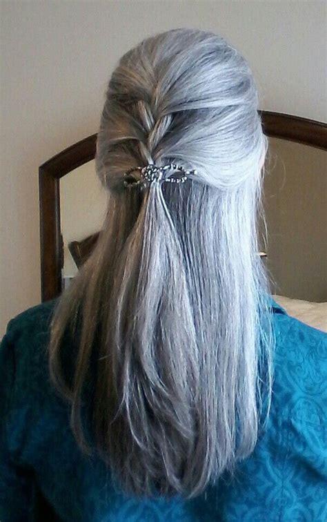 gray hair beautiful long gray hair style pictures long gray hair 1 2 braid beautiful gray hair pinterest