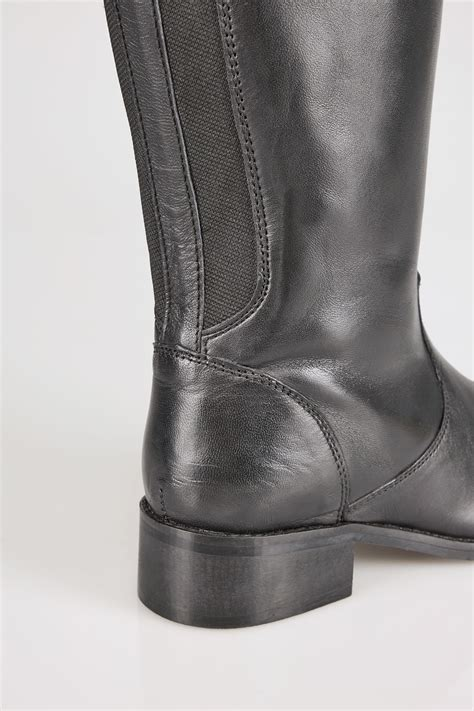 H And M Gift Card Balance Check - black knee high leather riding boots with elasticated panels in eee fit