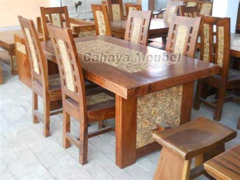 set kursi makan koin kayu trembesi set meja makan 6 kursi