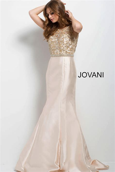 Sleeveless Evening Gown chagne fitted embellished bodice backless evening