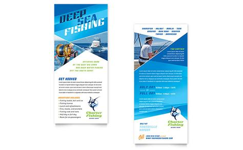 Downloadable Rack Card Templates by Fishing Charter Guide Rack Card Template Design