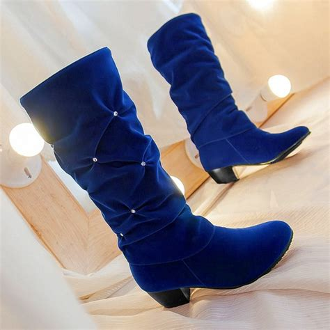 boots blue stylish ruched and rhinestone design mid calf