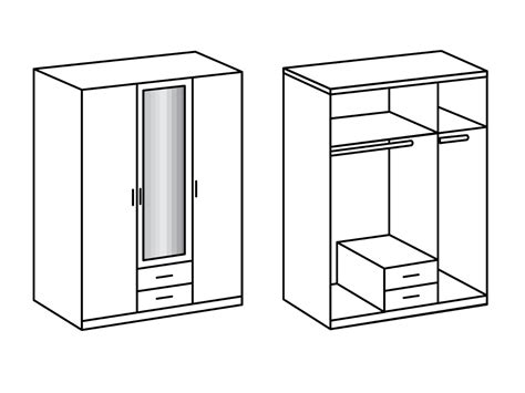 2 türiger kleiderschrank mit spiegel swen kleiderschrank mit spiegel 135 cm 3 t 252 rig edelbuche