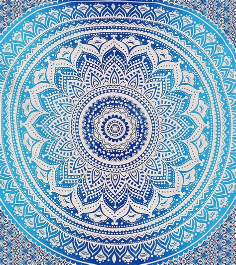 blue hippie floral mandala tapestry bedspread bed cover blue ombre indian wall hanging hippie mandala tapestry