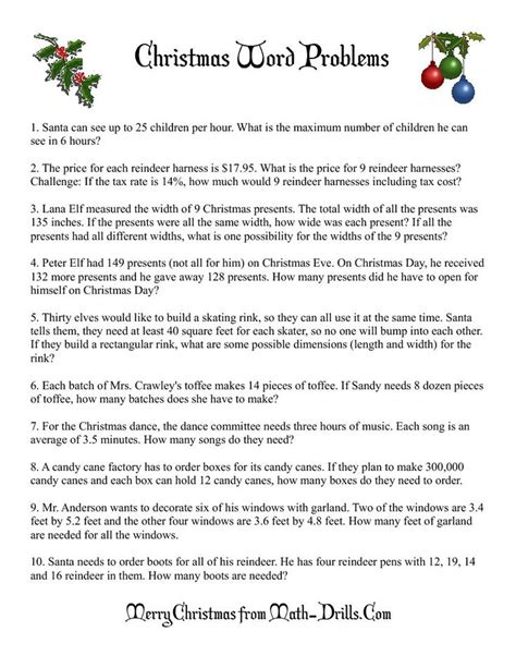 6th grade activities on pinterest 715 pins christmas word problems 6th grade math pinterest