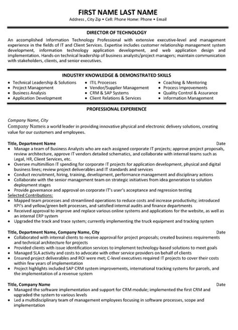 Director Technology Resume Sample & Template