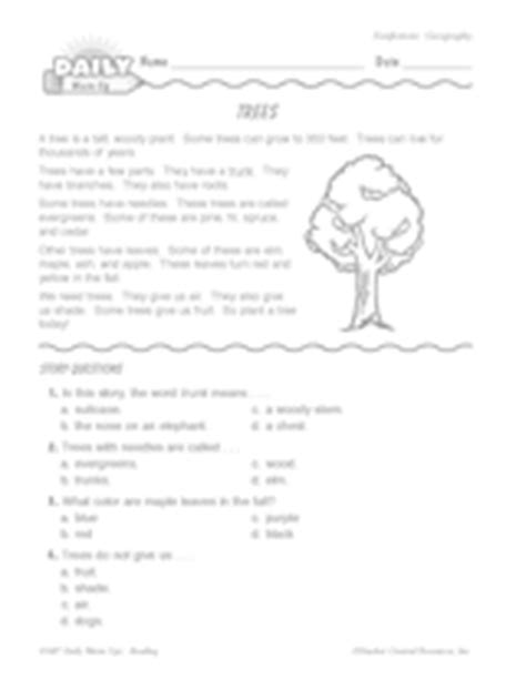 trees reading quiz for kids trees reading passage questions geography printable gr 1 2 teachervision