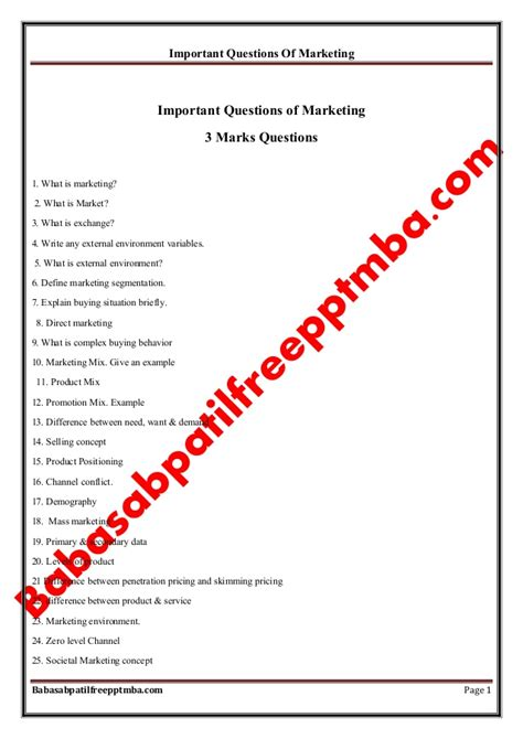 Mba Marketing Project Questionnaire by Marketing Management Module 1 Important Questions Of