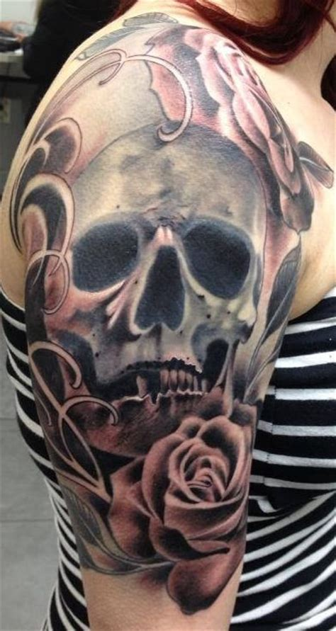 rose and skull tattoo sleeves 25 skull half sleeve tattoos