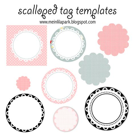 Free Printable Scalloped Tag Templates Muschelrand Etiketten Freebie Meinlilapark Free Templates For Labels And Tags