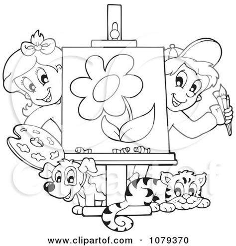 painting blank page clipart outlined class presenting a painting
