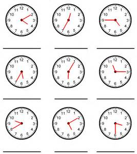 what time is it 5 minute intervals worksheet