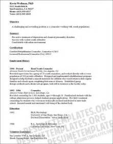 Counselor Resume Sles by Counselor Resume Template School Counselor Cv Sles