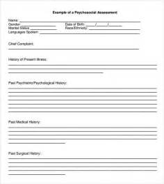Psychiatric Assessment Template by Sle Psychosocial Assessment 8 Documents In Word Pdf