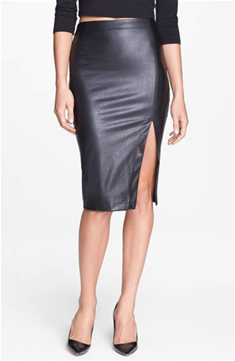 Side Slit Pencil Skirt side slit faux leather pencil skirt nordstrom