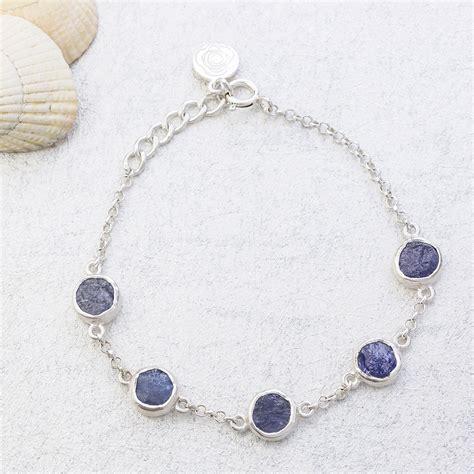 Handmade Sterling Silver Bracelet - tanzanite gemstone handmade sterling silver
