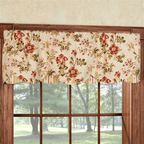 drapery valance farrell light gold floral layered window valance