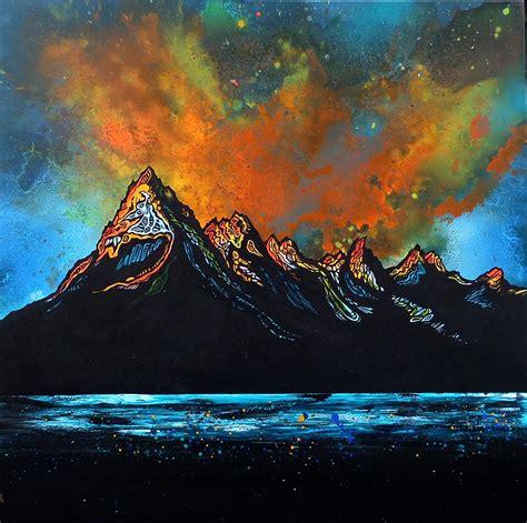 spray painting edinburgh cuillin ridge sunset from elgol loch scavaig the isle of