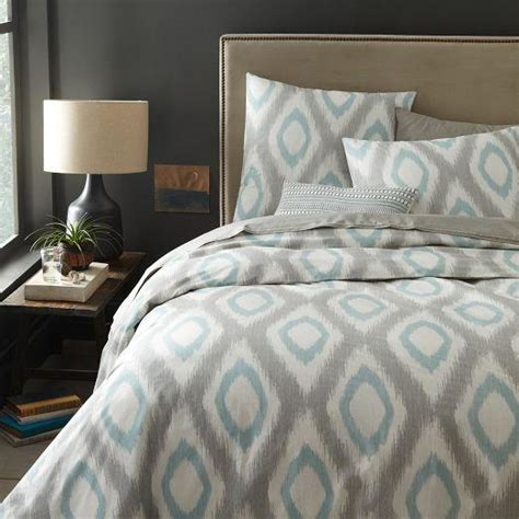 west elm bedding organic ikat diamond duvet cover shams light pool