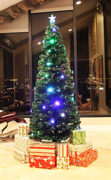 6 feet christmas tree with lughts 5 star 7 5 ft pre lit multi color led fiber optic tree bright stand ebay