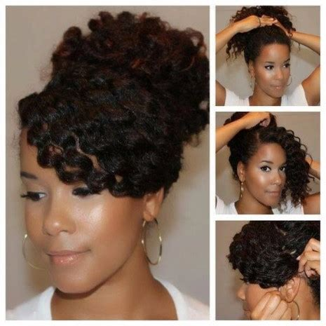 low maintenance afro hairstyles sideswept bangs updo best afro hairstyles pinterest