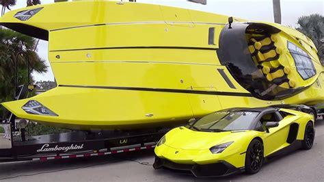 the lamborghini boat yellow lambo meets yellow lambo speedboat top gear